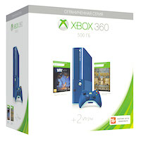 XBox 360E 500G (Slim Blue), Toy Soldiers, Max: the Curse of Bortherhood